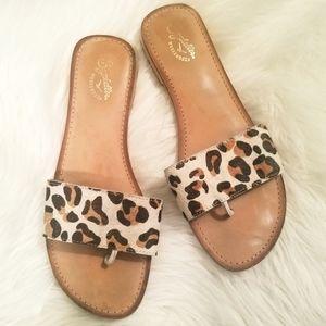 Seychelles Leopard Calf Hair Slides